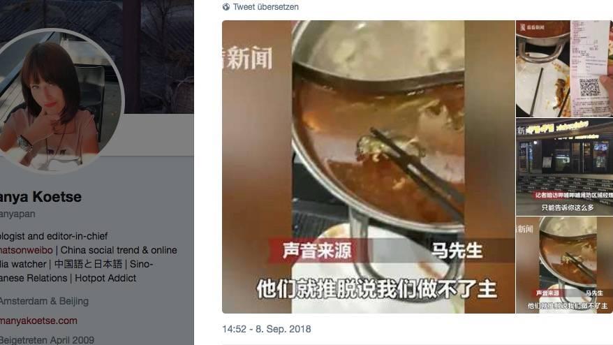 Eine tote Ratte schwimmt in einem Topf mit Brühe