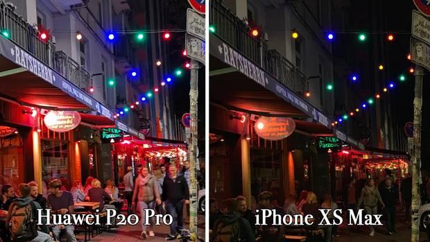 Wir waren gegen Mitternacht in Hamburgs Stadtteil St. Pauli unterwegs. Ein ideales Testszenario: Alles ist in Bewegung, Lampen leuchten in vielen bunten Farben.Die größten Unterschiede der beiden Smartphones zeigen sich bei Nacht: Das Huawei P20 Pro ist etwas lichtstärker, die Lichtstimmung wird allerdings beim iPhone besser eingefangen.