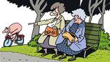 Comic zwei alten Damen auf Parkbank