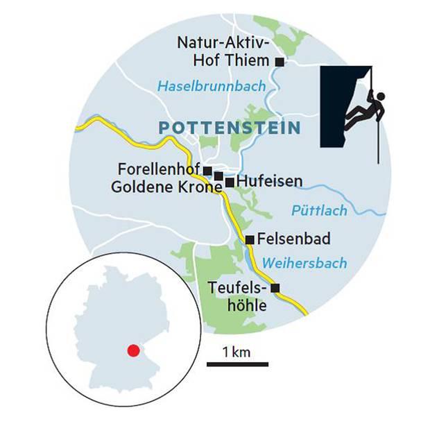 """Übernachten  Forellenhof: Das Hotel-Restaurant hat einen Forellenteich und schöne Zimmer mit Blick auf die Burg. DZ/F ab 92 Euro, Am Kurzentrum 3, Tel. 09243/924 20, www.forellenhof-malter.de  Natur-Aktiv-Hof Thiem: In dem idyllischen Bauernhof mit vielen Tieren und vier Ferienwohnungen fühlen sich vor allem Familien wohl. Apartments ab 36 Euro. Haselbrunn 8, Tel. 09243/16 21, www.landurlaub-thiem.de  Burg Rabenstein: Die imposante Anlage ist 800 Jahre alt. 22 Zimmer und Suiten im Burgstil. DZ/F ab 158 Euro, Ahorntal, Rabenstein 33, Tel. 09202/970 04 40, www.burg-rabenstein.de  Essen und trinken  Hufeisen: In dem Gasthaus mit angeschlossener Brauerei steht vor allem fränkische Küche auf der Karte. Unbedingt das Hausbier """"Urdunkel""""probieren. Geöffnet freitags bis sonntags. Hauptstraße 36, Tel. 09243/260, www.brauerei-hufeisen.de  Goldene Krone: Hier wird nur mit regionalen Produkten gekocht, das Wild ist ein Gedicht. Marktplatz 2, Tel. 09243/924 30, www.goldene-kronepottenstein.de  Trattoria Sepe: solider Italiener mit Pizza und Pasta. Man kann ja nicht immer nur fränkisch deftig essen. Marktplatz 4, Tel. 09243/902 54  Erleben  Heilstollen-Therapie: In der Teufelshöhle können Besucher täglich von 10 bis 12 Uhr oder nach Vereinbarung durchatmen. Preis: 8 Euro, Pegnitzer Straße 100, www.teufelshoehle.de  Klettern: Kurse für Einsteiger bis Könner bietet unter anderem die Bergsportschule Proalpin an, für die Kletterlehrerin Janine Ziermann arbeitet. www.proalpin.com  Schwimmen: Das herrliche Felsenbad mit Tradition und Biergarten ist bei schönem Wetter von 11 bis 19 Uhr geöffnet. Pegnitzer Straße 35, www.felsenbadpottenstein.info"""