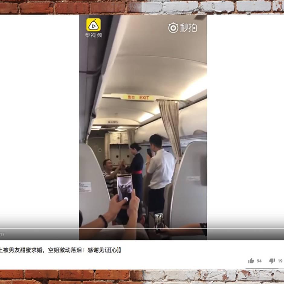 Virales Video: Stewardess gefeuert - weil sie an Bord einen Heiratsantrag annahm