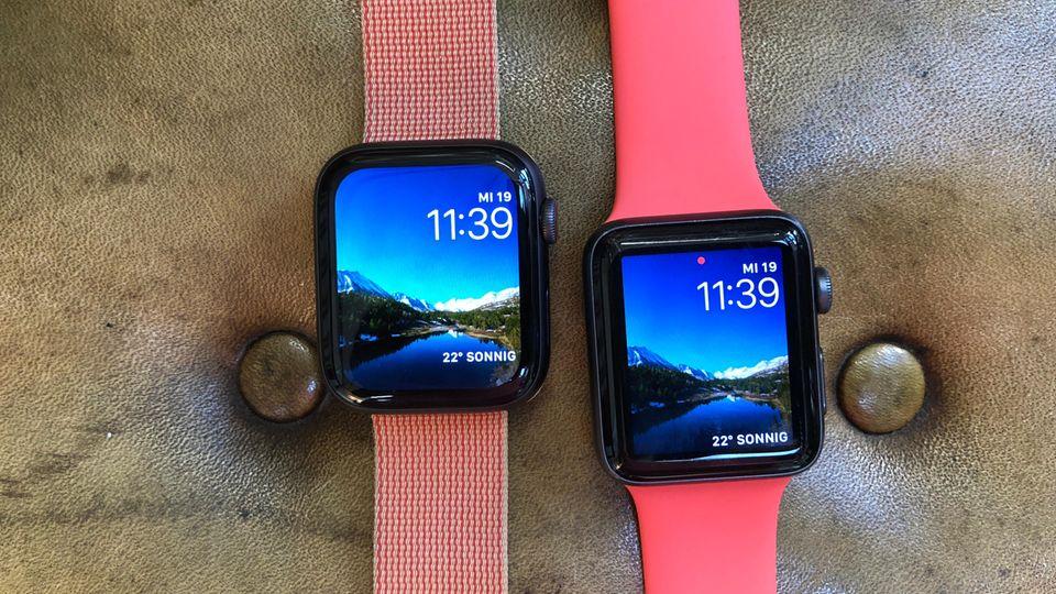 Links die neue Apple Watch Series 4, rechts die Series 3