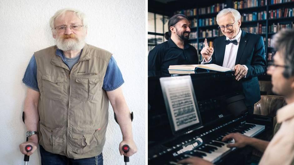 Hartmut Bauerwechselt von seiner Rolle als Obdachloser in die eines Dirigenten.