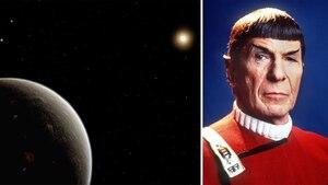 Links im Bild: Ein Bild des Planeten, rechts im Bild: Star-Trek-Commander Mr. Spock