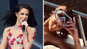 Links steht Vanessa Mai in besticktem Body auf der Bühne und singt, rechts liegt sie oben ohne an Deck einer Jacht
