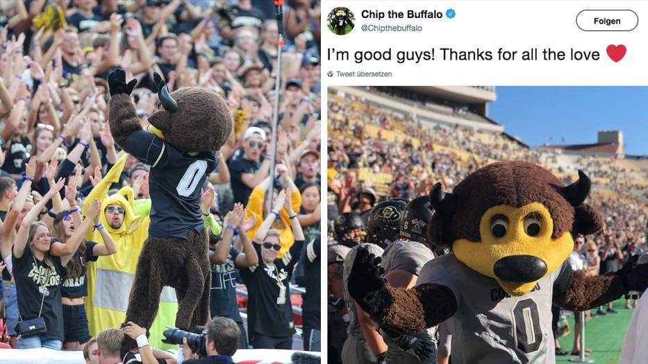 Football : Maskottchen hält T-Shirt-Kanone verkehrt herum – und schießt sich in den Schritt