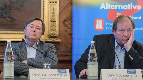 Sie sehenangeblich linke Indoktrination in Schulen: Jörn Kruse (l.), Fraktionsvorsitzender der AfD in der Hamburgischen Bürgerschaft, und Dirk Nockemann, Landesvorsitzender der AfD