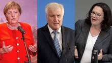 Angela Merkel, Horst Seehofer und Andrea Nahles verhandeln über Maaßen und die Zukunft der Koalition