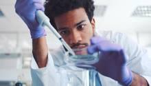 Ein junger Mann mit dunklen Locken tröpfelt in einem Labor etwas mit einer Pipette in eine Petrischale