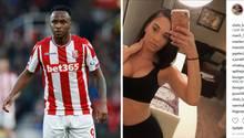 Links steht ein Fußballer in rot-weiß gestreiftem Trikot auf dem Platz, rechts macht eine Frau mit bauchfreiem Top ein Selfie