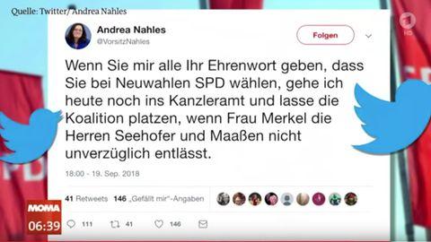 ARD-Morgenmagazin zeigt Fake-Account von Andrea Nahles
