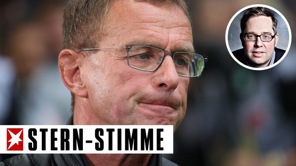 RB Leipzig-Trainer und Manager Ralf Rangnick kneift die Lippen zusammen
