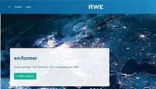 Ein Screenshot zwigt die Homepage des Energiekonzerns RWE: in Blau gehalten und mit einer Satellitenaufnahme Europas bei Nacht
