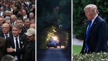 Björn Höcke (l.) und Donald Trump (r.) machen zu Slogans, dass die Welt krimineller und schlechter wird.