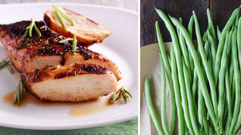 Hühnchenfleisch und Bohnen