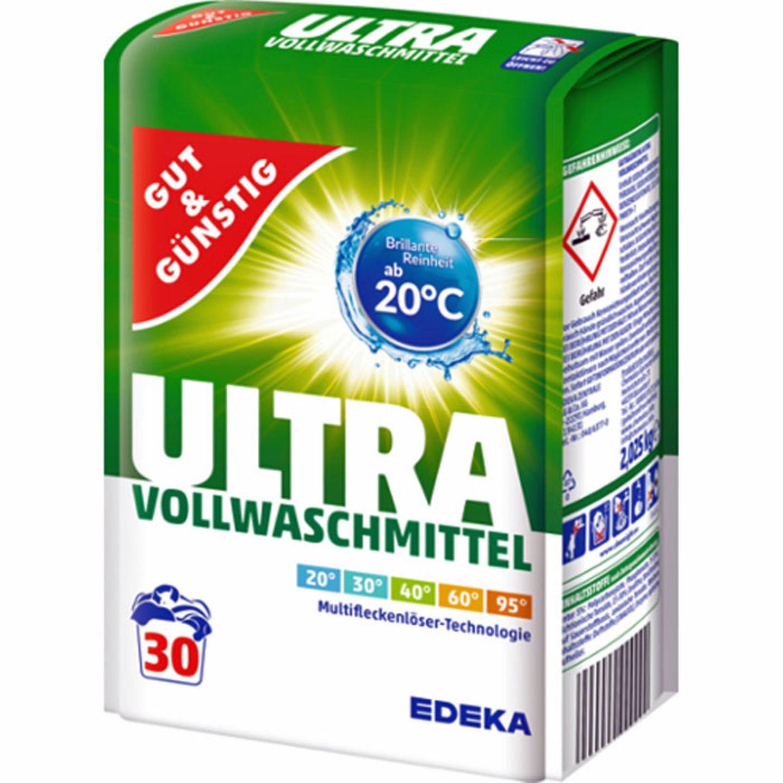 Platz 1  Edeka  Gut&Günstig  Ultra Vollwaschmittel  Note Gut (2,0)  Preis pro Wäsche : 13 Cent  Besonderheiten:  Sehr gut (1,5) bei Umwelteigenschaften