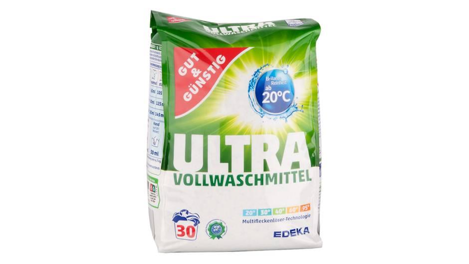 Edeka  Gut&Günstig  Ultra Vollwaschmittel  Preis pro Wäsche : 13 Cent  Waschwirkung: 2,2 (Gut)  Textilschonung: 3,4 (Befriedigend)  Besonderheiten: Sehr gut (1,5) bei Umwelteigenschaften  Gesamtnote: 2,0(Gut)