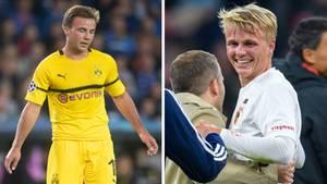 Mario Götze (l.) vom BVB und sein kleiner Bruder Felix vom FC Augsburg
