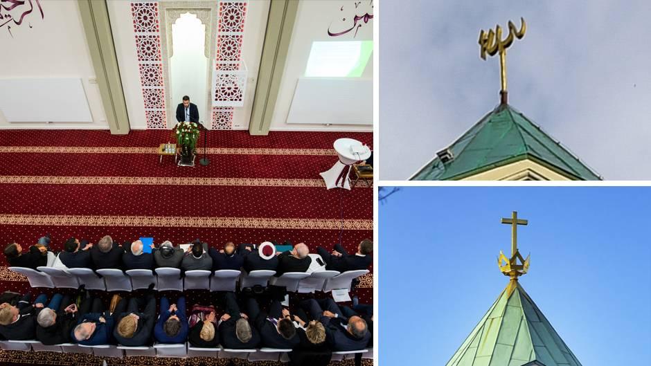 Das Dach der Kapernaumkirche bzw. -moschee in Hamburg, Blick ins Kirchenschiff während der Einweihungsfeier