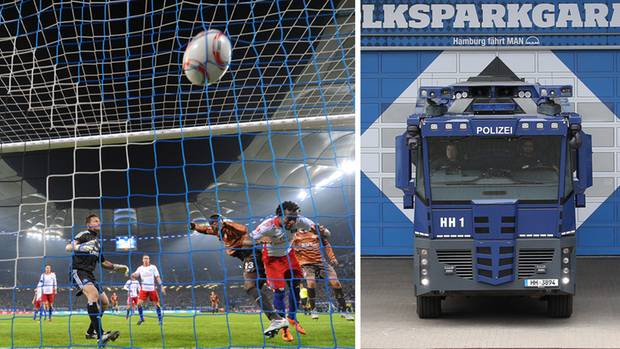 Das 1-zu-0-Tor im letzten Hamburger Duells zwischen dem HSV und dem St. Pauli; ein Wassserwerfer der Polizei