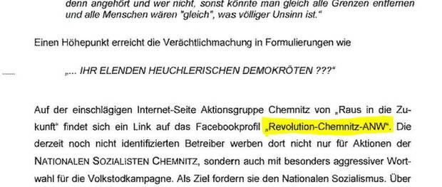 Chemnitz Revolution - Auszug aus Schreiben des Innenministeriums Sachsen vom 20.3.2014