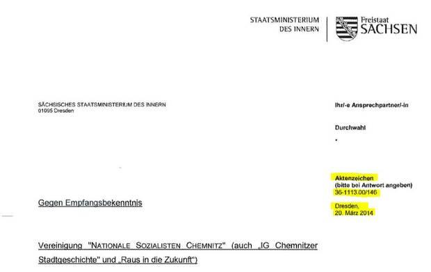 Revolution Chemnitz Schreiben Innenministerium März 2014 Briefkopf