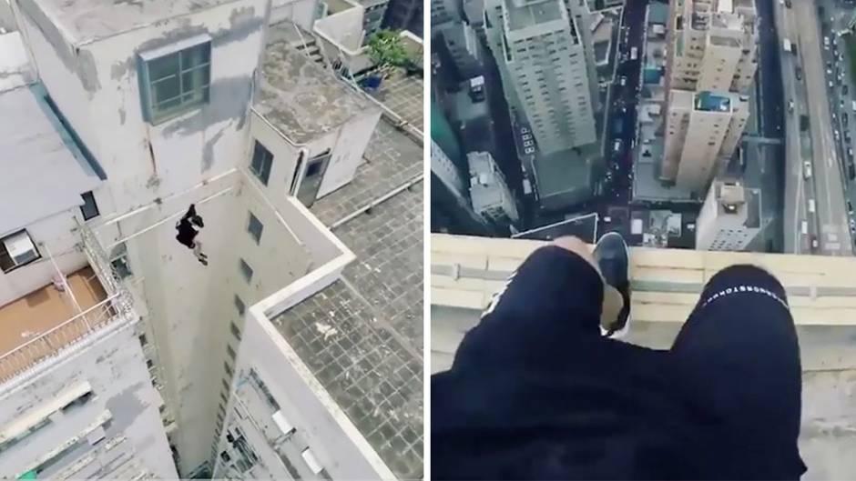 Waghalsige Sprünge: Bitte nicht nachmachen: Parkour-Läufer filmen ihre Stunts in schwindelerregender Höhe