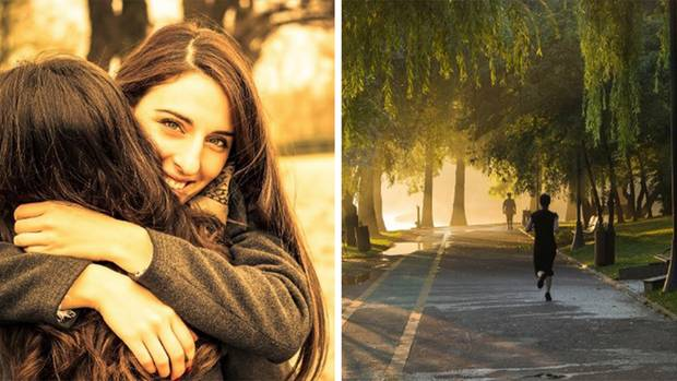 Collage: Umarmung zweier Frauen, Jogger im Park