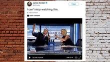 Selfie: Fox-News-Reporter fällt vom Stuhl, beim Versuch ein Foto zu machen