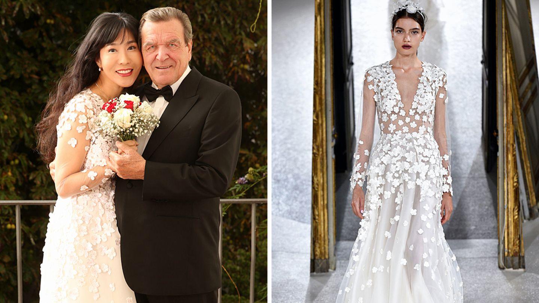 Soyeon Kim und Gerhard Schröder auf ihrem offiziellen Hochzeitsfoto und das Brautkleid von Kaviar Gauche auf dem Laufsteg