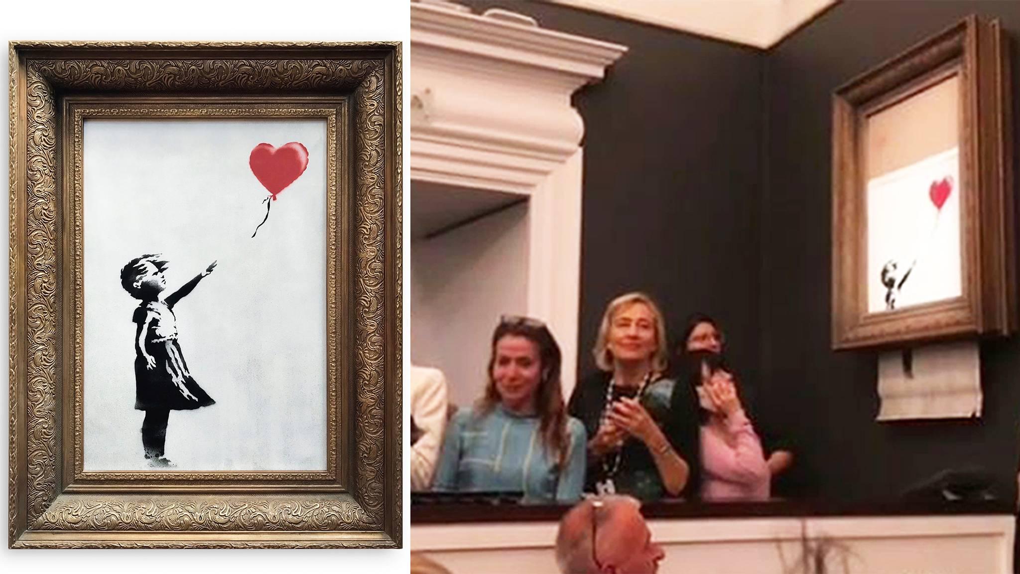 259e658fdb666f Sotheby s  Banksy-Bild schreddert sich nach Auktion selbst – Künstler  meldet sich zu Wort
