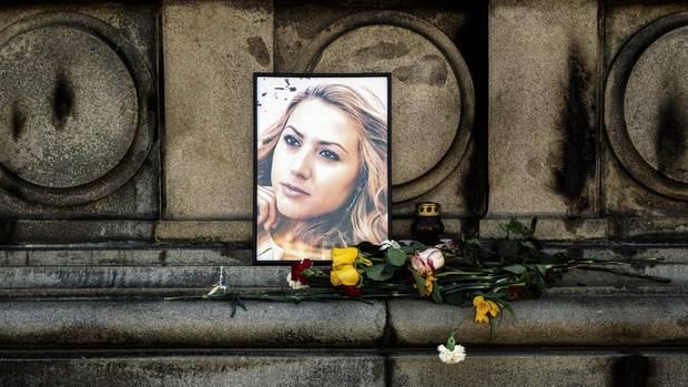 Mord an Wiktorija Marinowa - Bild an Gedenkstätte in der Stadt Russe
