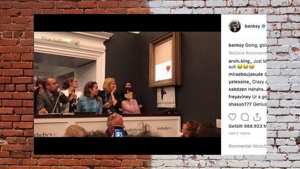 Banksy-Bild wird bei Auktion geschreddert