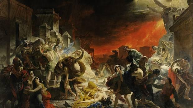 So stellte sich der MalerKarl Bryullov die letzten Tage von Pompeji vor.