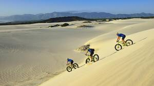 Wer den Kitzel beim Mountainbiking sucht, wird das hier lieben: Sanddünen mit dem Fatbike runterasen. Die extra dicken Reifen des Fatbike sorgen für genug Halt. Trotzdem treibt die wilde Tour den Adrenalinspiegel ganz schön nach oben. Buchen kann man die Touren, wie hier am Plaat Beach, in vielen Touristenregionen. Mehr Informationen zu den Fatbikes-Touren finden Sie hier.