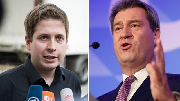 Juso-Chef Kevin Kühnert (l.) und CSU-Ministerpräsident Markus Söder