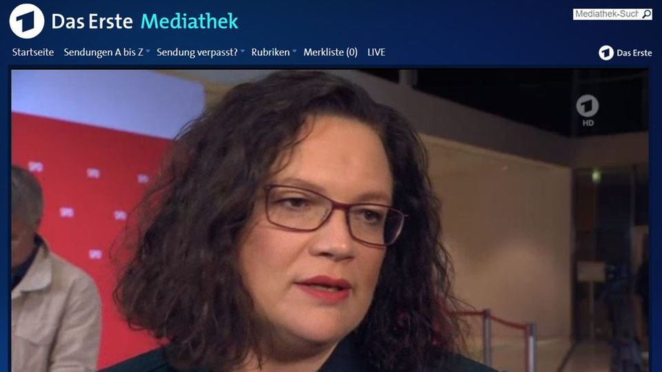 SPD-Chefin Andrea Nahles im ARD-Interview