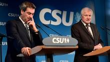 Markus Söder und Horst Seehofer bei der Pressekonferenz der CSU