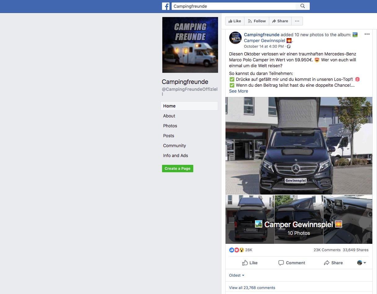 Fake Gewinnspiel Auf Facebook Hier Wird Kein Camper Verlost Sternde