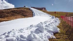 Die künstliche Schneise durch die grüne Berglandschaft:Skipisten-Präparierung amResterkogel in den Kitzbüheler Alpen.