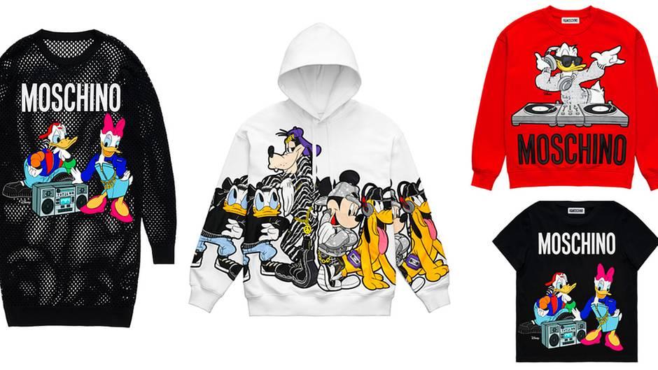 Helden der Kindheit  Jeremy Scott liebt Cartoons ebensowie der Gründer der Marke, Franco Moschino. Für seine H&M-Kollektion ließ der US-Designer Disney-Helden wie Donald Duck und Micky Maus auf zahlreiche Kleidungstücke drucken. Fast könnte man meinen, man sei in der Kinderabteilung gelandet, aber dieses Entwürfe sind für erwachsene Comic-Fans gedacht. Kleid: 99 Euro; Hoodie: 79,99 Euro; Sweater: 59,99 Euro; Shirt: 34,99 Euro.