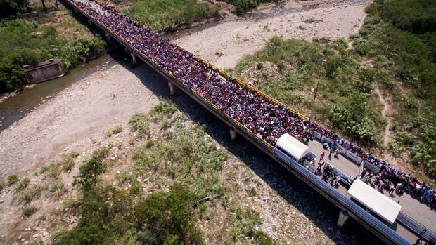 Die Grenze von Venezuela nach Kolumbien bei Cúcuta