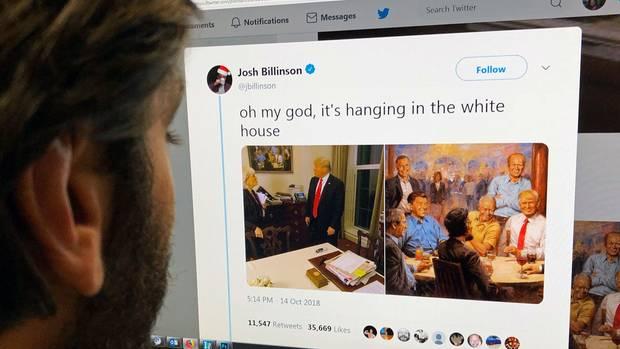 Das Gemälde des Malers Andy Thomas von Donald Trump und seinen Amtsvorgängern auf einem PC
