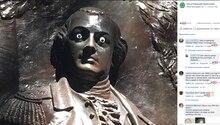 Statue von Nathanael Greene mit Glubschaugen