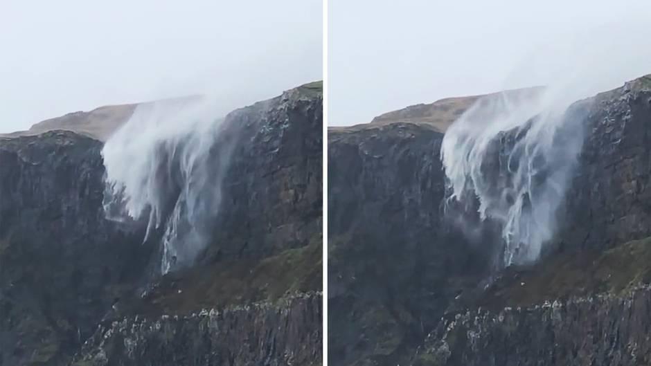 Insel Skye: Stärker als die Schwerkraft: Was ein Sturm mit einem Wasserfall macht