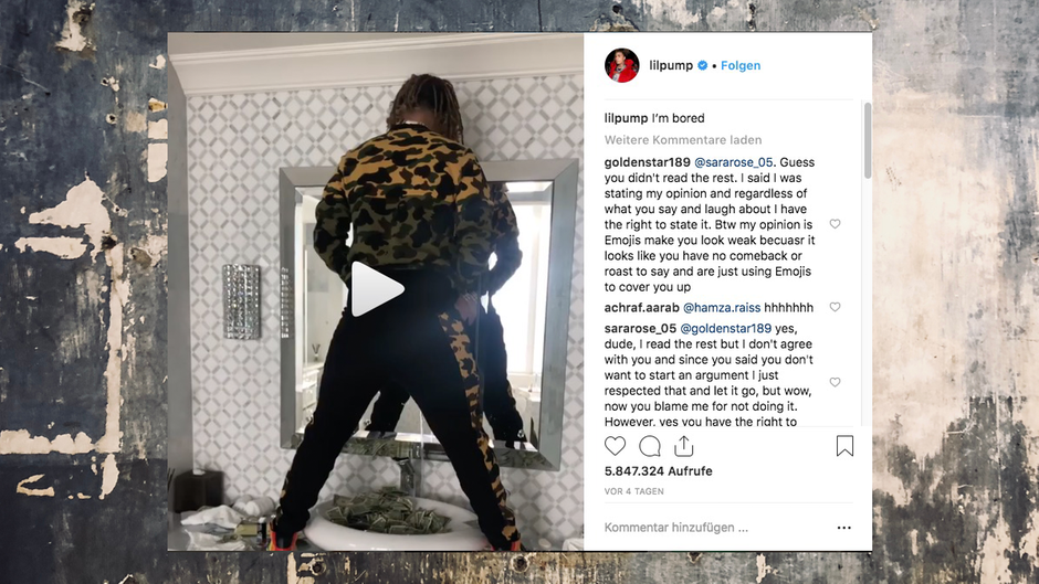 Auf Instagram ließ US-Rapper Lil Pump seine Fans wissen, was er macht, wenn ihm langweilig ist