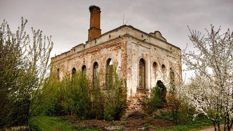 Ruine der Großen Synagoge inProbischna, Galizien, in der Ukraine, 2017