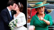 Jack Brooksbank und Prinzessin Eugenie nach ihrer Trauung auf Schloss Windsor. Zu den Gästen gehörte auch Eugenies Mutter Sarah Ferguson.