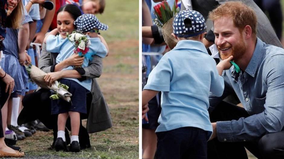 Herzliche Begrüßung: Prinz Harry und Meghan Markle in Australien: Ist das der niedlichste Moment ihrer Reise?