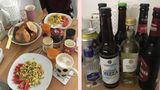 Frühstückstisch und Bier auf Tisch